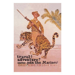 "Buyenlarge.com, Inc. - Travel? Adventure? Join the Marines- Fine Art Giclee Print 24"" x 36"" - James Montgomery Flagg (1877 - 1960) was an American artist and illustrator. He is most famous for his war effort posters but he also work for magazines, did cartoons, and even paintings. Flagg's recruiting poster Travel? Adventure? Join the Marines of 1917, is a humorous image that defines jaunty. The poster shows a young Marine enlisted man holding his .03 Springfield rifle at port arms which riding backwards on a bucking leopard. The acrobatic smiling Marine is shown wrapping his feet around the belly of the best while somehow remaining posture perfect. The poster boy Marine wears a uniform well suited for the tropics; a campaign hat with the globe and anchor, canvas cartridge belt around his slim waist and leggings of the same material secured by a strap looped just in front of the boot heel. Just behind this surreal scene, which would be the envy of any rodeo rider, palm fronds are pictured swaying on a warm tropical breeze. Affairs weren't so idyllic in the Caribbean Basin the year this poster was printed. A series of revolutions has rocked the Caribbean and Central America for decades, that the Marines were often called on to quell. At the time the Marines only had a complement of 15,000 or less, but these dedicated professionals often reenlisted, providing a capable cadre of officers and men. This small number assumed that only a comparatively small number of these recruiting posters assured that only a comparatively small number of these required to maintain this elite volunteer force, making these particular posters rare and collectible by anyone with a serious interest in the Corp's illustrious history. demonstrates the Marine's complete mastery of a virtually impossible and dangerous situation."