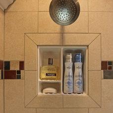 Traditional Bathroom Cabinets And Shelves by Bathroom Tile Shower Shelves