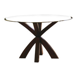 Coaster - Coaster Shoemaker Crossing Pedestal Dining Table with Glass Top in Cappuccino - Coaster - Dining Tables - 101071+CB48RD - Choose the Shoemaker collection to transform your semi-formal dining room into a contemporary space with chic and elegant style. With different options to fit your needs this group offers clean lines sleek and comfortable seating and a deep Cappuccino wood finish that is sure to complement your decor. Mix and match the tables and chairs to fit your space to accommodate family and friends in your stylish and welcoming dining room.