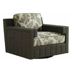 Lexington - Tommy Bahama Blue Olive Swivel Glider Lounge Chair - As the name implies, the enhanced motion provides additional comfort as both a glider and swivel chair. Each vertical channel features a striking herringbone weave of all-weather wicker in a coloration that fuses five distinct hues into each strand. The unique double-arm offers a generous armrest while creating a stylish inset below the arm that cradles the edge of the seat cushion. The 3230-11SG-CS cushion set includes one 20-inch throw pillow.