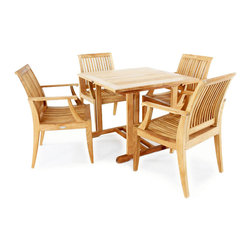 "Westminster Teak Furniture - 5pc Laguna Patio Set - 5pc Round Teak Dining Set comes complete with 4 Laguna Teak Armchairs  and one 36"" Square Premium teak table.  Lifetime Warranty."