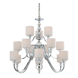 Quoizel - Quoizel Polished Chrome Large Chandeliers - SKU: DW5015C - Cool, sleek sophistication is written all over this design. Gleaming glass ball accents complement the opal etched glass drum shade and shiny chrome finish, bringing a soft modern sensibility to your home.