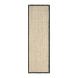 Safavieh - Hand-woven Resorts Natural/ Grey Fine Sisal Runner (2' 6  x 14') - Update your home decor with a new rug. Area rug features a natural tiger eye pattern background with a grey border. Casual rug is hand-woven of natural sisal with a natural latex backing.
