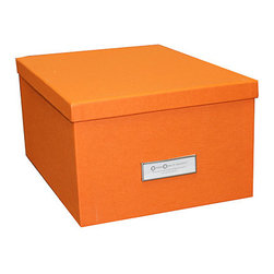 "Bigso Box - Bigso Orange Gustav Photo/DVD Box - YooHoo Lovies, meeting your organizational needs AND  your style needs for your space is easy with Bigso boxes and desk accessories. Bigso Box paper laminate products are super-strong, acid free recycled fiberboard. The Gustav photo/DVD box can be for photo and DVD storage but it can also store lots of other things. Envelopes, greeting cards, markers, overflow tape, staples and post-its. Pack up the clutter in colorful boxes. Use different colors to stack on top of one another or stack a Gustav box on top of the Oscar box (both metal labels will face front). Mix and match with all the Bigso box collection for a cheerful office space.  Box top removes completely. Silver metal label holder is on the width side.  11.6""L x 8.8""W x 5.9""H"