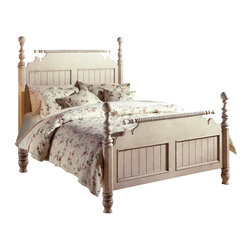 Hillsdale - Hillsdale Wilshire Poster Bed in Antique White Finish-Queen - Hillsdale - Beds - 1172BQR - The Wilshire Antique White Poster Bed glows with the hallmarks of old-world sophistication. It has wainscoting detail twisted rope accents and beautifully turned posts. with its enchanting cottage charm this English countryside classic is eye-catching.