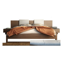 "Modloft - Monroe Platform Bed in Walnut | White Headboard Pillows, King - Square backrest pillows in white leather compliment the bed and offer comfort and style. Platform height measures 14 inches (7 inch inset). Also includes pair of ""floating"" single-drawer nightstands, seamlessly attaches to bed frame."