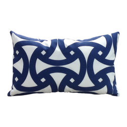 The Pillow Studio - Designer Outdoor Lumbar Pillow Cover, Marine Blue and Ivory Geometric Santorini - I love the geometric design on this pillow and how the sapphire blue provides such a great contrast against the ivory.