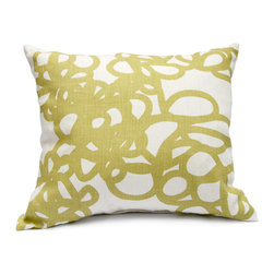 "Area - Daisy Pillow in Linden Green - Area - Soft graphic loops. Grey printed on off white pure linen with feather & down-filled insert. 16"" x 21"""