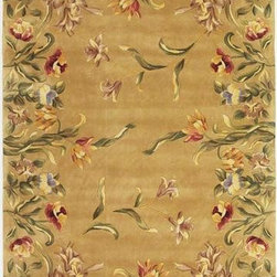 """KAS - KAS Emerald 9080 Tulip Garden 3'6"""" x 5'6"""" Gold Rug - Our Emerald Collection is a rich and vibrant line of high density hand-tufted wool rugs. Made in China in a 90-Line quality, this collection offers intricate designs in a medley of lush colors. The designs range from classic French and Orient aubussons to florals. These rugs are beautifully versatile in design and color and complement a broad range of decorating tastes. No fringe."""