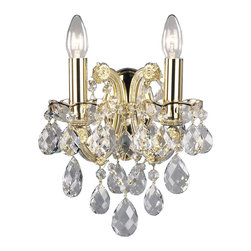 """Inviting Home - Maria Theresa Crystal Sconces (Premium Crystal) - Maria Theresa style crystal sconce with cut crystal trimmings and gold accents; 9""""W x 7-1/2""""D x 11""""H; assembly required; 2 light premium Maria Theresa style crystal sconce with hand-molded arms cut crystal trimmings and gold painted accents; all metal parts have gold finish; genuine Czech crystal; ready to ship in 2 to 3 weeks; This wall sconce is a part of Maria Theresa Collection. At their start the chandeliers bearing the name of Maria Theresa were made on the occasion of the Empress's coronation as queen of Bohemia in 1743. This fact is hidden in the shape of these lighting fixtures reminiscent of the royal crown. Their characteristic feature is the arms' typical flat surface clad with glass bars. The bars are fixed to the arms by glass rosettes and beads with dangling cut crystal chandelier trimmings. These ravishing fixtures were inspired by a chandelier made for Maria Theresa in Bohemia in the mid 18th century. However not only the empress became fond of it; so did many others who fancied the style and the majestic manners after her. Typical elements are metal arms overlaid with glass bars and decorated with crystal rosettes. Originally the trimming was made of typical flat drops called """"pendles"""". Today trimmings of various shapes are used. Premium crystal. A sumptuous type of chandelier trimmings. Fire of the rainbow spectrum brilliance limpidity glitter and perfect scattering and dispersion of light - these are their main features resulting from precise cutting using electronically controlled machines but also from high quality crystal containing more then 30% of lead. Traditional mastery and the revealed mystery of the glass substance blend together with modern technologies and first-rate design in each of these unique pieces. Chandeliers dressed with these trimmings of exceptional beauty will lend an air of grandeur to the ambiance even of the most prestigious interiors. Every component pas"""