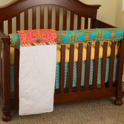 "Cotton Tale Designs - Gypsy Front Crib Rail Cover Up Set - A quality baby bedding set is essential in making your nursery warm and inviting. All Cotton Tale patterns are made using the finest quality materials and are uniquely designed to create an elegant and sophisticated nursery. Gypsy Front Crib Rail Cover Up Set includes fitted crib sheet, dust ruffle, coverlet, and front crib rail cover up. Gypsy is an amazing combination of bright 100% cotton percale Provence fabrics. Gypsy offers this great idea, this front rail cover up protects your foot board on the convertible cribs and it looks great. For the parent choosing not to use a bumper, it can add the needed decor lost when the bumper is removed. Box pleated dust ruffle. Sheet in small gold dot, 300 thread count. Comforter, duvet style with coconut buttons and striped bias trim. All these fabrics come together with great style and fun. A perfect little girls nursery. This design looks great with all crib colors. Wash gentle cycle, cold water, separately. Tumble dry low or hang dry.; Weight: 8 lbs; Dimensions: 19""L x 19""W x 9""H"