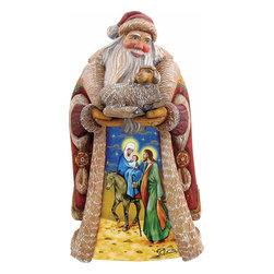"""Santa Claus Gentle Journey Holy Family Nativity Wood Carved Sculpture - Measures 11""""H x 12""""L x 5""""W and weighs 3 lbs. G. DeBrekht fine art traditional, vintage style sculpted figures are delightful and imaginative. Each figurine is artistically hand-painted with detailed scenes including classic Christmas art, winter wonderlands and the true meaning of Christmas, nativity art. In the spirit of giving G.DeBrekht holiday decor makes beautiful collectible Christmas and holiday gifts to share with loved ones. Every G. DeBrekht holiday decoration is an original work of art sure to be cherished as a family tradition and treasured by future generations. Some items may have slight variations of the decoration on the decor due to the hand painted nature of the product. Decorating your home for Christmas is a special time for families. With G. DeBrekht holiday home decor and decorations you can choose your style and create a true holiday gallery of art for your family to enjoy."""