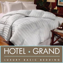 Hotel Grand - Hotel Grand Milano 800 Thread Count Hungarian White Goose Down Comforter - This cozy white goose down comforter combines comfort and class. Stuffed with premium-grade Hungarian down and adorned with a classic cabana stripe detail, this comforter will lend warmth and elegance to your bedroom in equal measure.