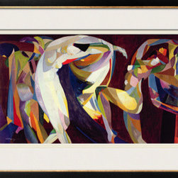 Artcom - Dances, 1914/15 by Arthur Bowen Davies - Dances, 1914/15 by Arthur Bowen Davies is a Framed Giclee Print set with a Basel Black and Gold wood frame and Silver Mist and Pale Yellow (cream core) matting.