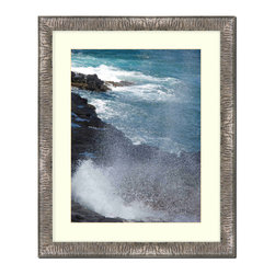 """Frames By Mail - Wall Picture Frame Silver Crinkled finish with a white acid-free matte, 8x10 - This 8X10 silver crinkled frame is imported from Italy.  The frame is 1.25"""" wide with a black back and has a white matte that can be removed to accommodate a larger picture.  The frame includes regular plexi-glass (.098 thickness) foam core backing and can hang either horizontal or vertical."""
