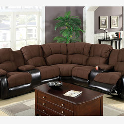 Traditional Brown Microfiber Leather Reclining Sectional Sofa Recliner - Great for family rooms, this comfortable sectional has built-in drink tray and recliner. The seat, back and arms are finished with brown elephant skin microfiber, while the base and side panels are covered in espresso leatherette.