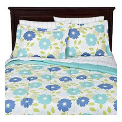 Target Corporation - Aqua Re Biab Floral Blue Flowers King Size Bedding Set - FEATURES: