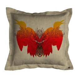 ecofirstart - Birdsong Cushion - This vibrant firebird is presented in a Rorschach-inspired pattern, on this uber-chic textile. Put a pop of color right in the center of your sofa or daybed with this bright ecofriendly pillow, which may just make your heart sing.
