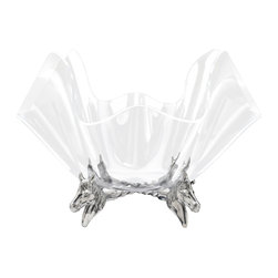 """Arthur Court - Horse Stand with 14"""" Clear Acrylic Bowl - Your table will win, place and show with this elegant centerpiece. The stand of four horses is made from sparkling cast aluminum and corrals a shapely clear acrylic bowl on top. Whether you fill it or leave it unadorned, this 14-inch diameter piece will take the triple crown in your space."""