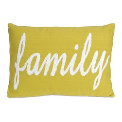 IMAX CORPORATION - Suzie Family Pillow - Modern homes require bold accents like this family pillow in a green hue. The soft, white embroidery adds a whimsical touch!. Find home furnishings, decor, and accessories from Posh Urban Furnishings. Beautiful, stylish furniture and decor that will brighten your home instantly. Shop modern, traditional, vintage, and world designs.