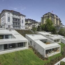 4 Semi-Subterranean Townhouses Set into Sloping Hillside | Designs & Ideas on Do