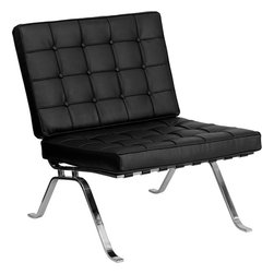 """Flash Furniture - HERCULES Flash Series Black Leather Lounge Chair with Curved Legs - Add a vintage contemporary flair to your waiting area or office. The Flash Series Reception furniture will adorn any office or waiting room setting with the button tufted cushions and designer legs. Flash Series Lounge Chair; Office or Home Office Seating; Made of Eco-Friendly Materials; Button Tufted Seat and Back; Removable Cushions; Foam Filled Cushions; Vertical Seat and Back Supports; Designer Curved Legs; Polished Stainless Steel Frame; Black LeatherSoft Upholstery; LeatherSoft is leather and polyurethane for added Softness and Durability; CA117 Fire Retardant Foam; Overall dimensions: 29""""W x 32""""D x 35""""H"""
