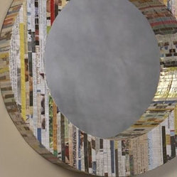 Recycled Magazine Round Mirror