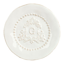 "Gracious Goods GG - GG Heirloom Collection Salad Plates - Set of 4 - A visual treat for traditional dining room decors from French country to cottage, the Gracious Goods Heirloom salad plates are inspired by the casual elegance of old world dinnerware. Exceptional in both quality and style, they are crafted from high quality ceramic in a white finish, with an inner ring of pearl accents. Perfect for serving salad or or dessert, our lovely white plates will be the heart of family celebrations for years to come! * Set of 4 salad plates* Diameter: 8.5""* Ceramic plates are oven, microwave, and dishwasher safe"