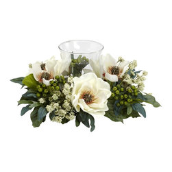 Nearly Natural - Magnolia Candelabrum Silk Flower Arrangement - Will give a warm feeling to any decor. A green leaf backdrop for delicate magnolias. Best of all, no watering needed. Construction Material: Polyester material, plastic, Iron, Glass. 14 in. W x 14 in. D x 6.5 in. H ( 2 lbs. )The Magnolia is the perfect flower when you want a soft, warm feeling from your home decor. And this Magnolia Candelabrum perfectly captures those feelings. With an array of magnolia blooms, leaves, stems, and berries surrounding a single candle holder, this makes an ideal centerpiece, mantle, or shelf decoration. Heck, put it anywhere and watch the glow!