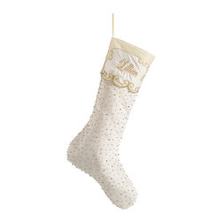 Frontgate - Off-White Beaded Christmas Stocking - Coordinates with our Merry Christmas Tree Skirt. Woven of 100% dull-satin polyester. Studded with faux pearls and metallic beads. Monogram available. Arrives ready to hang. Woven in creamy hues and embellished with seed pearls and metallic beads, our exclusive Ivory Beaded Stocking lend clean, classic elegance to your holiday decor. The dull-satin stocking bears an embroidered cuff that can be gorgeously finished with your chosen monogram.  .  .  .  .  . Spot clean . Imported.