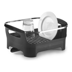 Umbra - Umbra Basin Dish Drying Rack, Smoke - A modern styling and a clever, multi-functional design. Available in a variety of fashion colors such as this Smoke gray, Basin is constructed of durable, easy-to-clean, BPA-free molded material with a high-gloss exterior finish and a sleek chrome-plated metal rim. Interior ridges keep plates upright for fast-drying, and a built-in utensil caddy conveniently holds flatware and cooking utensils.