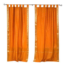 Indian Selections - Pair of Mustard Tab Top Sheer Sari Curtains, 43 X 120 In. - Size of each curtain: 43 Inches wide X 120 Inches drop