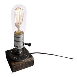 Urban Industrial Craft - Rustic Industrial Edison Bulb Lamp, Spanish Oak - Urban Industrial Craft -