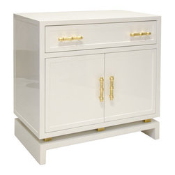 Worlds Away Marcus White Lacquer Table With Gold Bamboo Pulls - White lacquer (1) drawer, 2 door nightstand with gold leafed bamboo hardware and gold leaf metal detail on base. Drawer on glides, interior features 1 non adjustable shelf.