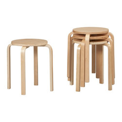 "Linon - 17"" Bentwood Stool, Natural - Dimensions: 17.1 x 17.1 x 18 inches"