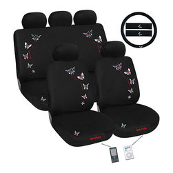 None - Butterfly iPocket 12-piece Automotive Seat Cover Set - In sophisticated black, with red-and-white embroidered accents, this butterfly car seat cover set gives your car a custom look. Featuring stretchy fabric for the perfect fit, it can be used with or without the rear set headrest covers.
