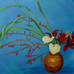 Ikebana in Red - The vivid colors of this Ikebana make any room in your home a little more lively. The acrylic based painting by artist Anthony Dunphy, depicts the art of Japanese flower arranging with emphasis on balance and line.
