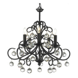 None - 'Gallery Versailles' Crystal Balls Wrought Iron Chandelier - Bring opulent style to your living space with this stunning iron and crystal chandelier. The five delicate lights provide ample lighting and the intricately worked wrought iron has a beautiful black finish,complimented by the small crystal globes.