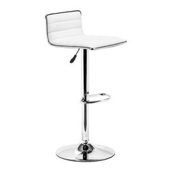 Zuo Modern - Zuo Modern Equation Barstool White - Barstool White belongs to Equation Collection by Zuo Modern Sleek and sexy, the Equation Barstool completes any modern space. It has a leatherette seat and chrome height adjustable swivel base. Barstool (1)