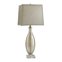 Kathy Kuo Home - Coco Antique Mercury Glass Modern Elegant Gold Crackle Table Lamp - The combination of pale neutrals and metallic always works wonders for creating low key glamour, and this lamp beautifully illustrates the effect.  With a Lucite base adding a feather light appearance and a grey silk shade , this contemporary piece would make a sophisticated addition to a wide variety of spaces.