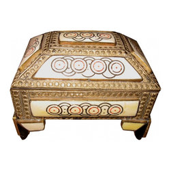 Moroccan Keepsake box - This is a lovely Moroccan brass & engraved bone box, velvet lined. great for that special Key or pr.of earrings.