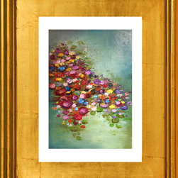 If Your Kisses Were Lilies, Fine Art Print - A beautiful limited edition fine art print comes signed, matted, and framed. Direct from the artist this piece features a stunning high quality hand made gold wood frame. The high quality print is produced by the artist in very limited numbers on professional archival paper. Less then 250 prints are made. Guaranteed to last, This is a piece you will love to own. Simply stunning, the photos do not do it justice. Total size of the frame is 12.5 x 10.5 x 1.5 inch deep. This is a great way to start or add to an existing collection!
