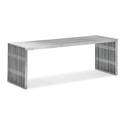 Zuo Modern - novel bench table - Reminiscent of mid-century design, this collection is fabricated from 304 grade stainless steel and is safe to use outside.