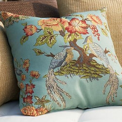 Blue Bird Outdoor Pillow - Modeled after vintage Chinoiserie fabrics from the 1920s, this lovely outdoor pillow features birds and flowers on a porcelain blue background.
