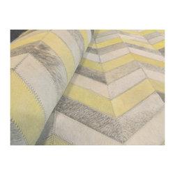 Kaymanta - 8 x 10 Ft. | Chevron Design, Hair on Leather Carpet, Neon Yellow, Grey & White - 8 x 10 Ft. Chevron Rug on Neon Yellow, Grey & White Color , Natural Cow Leather Rug, Patchwork Cowhide Rug
