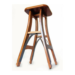 Eiffel, barstool recycled oak wine barrel high stool. - Stil Novo Design's gorgeous interpretation of the classic bar stool is entirely made with recycled oak and galvanized steel hoop 'rescued' from discarded French wine barrels.