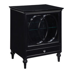 Sterling Industries - Claremore Cabinet - All purpose cabinet with a cut oval pattern in black on the full glass front door. A convenient drawer under the cabinet space and a glass shelf inside make this piece both functional and eye catching. Made of plantation grown hardwoods, other wood products, metal and glass.