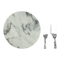 Arthur Court - Grape Cheese Set with 12-Inch Marble Tray - This spectacular cheese-serving set gives you soft- and hard-cheese knives, each with a decorative grapevine handle. There's also a magnificent marble disc, where a wedge of blue cheese will blend in beautifully.