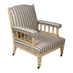 ecofirstart - 19th Century Arm Chair in Cream Lacquer - Sophistication and comfort all wrapped up in one. This beautifully crafted, 19th-century replica features detailed woodwork, striped upholstery, casters for easy movement and a cream finish. Additional fabrics and finishes are available.