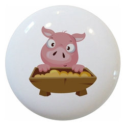 Carolina Hardware and Decor, LLC - Pig and Trough Ceramic Knob - New 1 1/2 inch ceramic cabinet, drawer, or furniture knob with mounting hardware included. Also works great in a bathroom or on bi-fold closet doors (may require longer screws). Item can be wiped clean with a soft damp cloth. Great addition and nice finishing touch to any room!